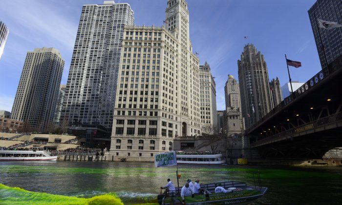A boat travels down the Chicago River that is dyed green for St. Patrick's Day in Chicago on Saturday, March 14, 2015. (AP Photo/Paul Beaty)