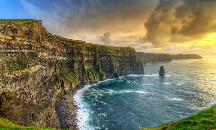 Cliffs of Moher at sunset, Co. Clare, Ireland via Shutterstock*