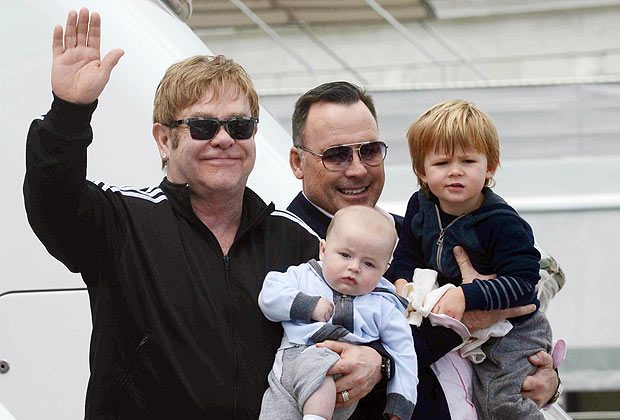 Elton John with his husband  David Furnish with their children