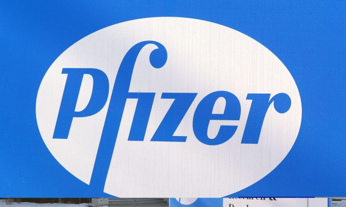 SKOKIE, IL - JANUARY 22:  A Pfizer logo is seen on a sign outside an entrance to its facility January 22, 2004 in Skokie, Illinois. Pfizer Inc., the world's largest pharmaceutical company, has stated that its fourth quarter profits dropped 79 percent, in part due to its merger with Pharmacia.  (Photo by Tim Boyle/Getty Images)