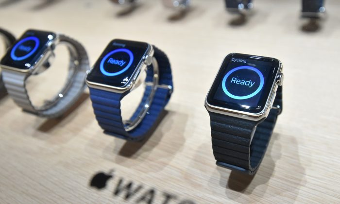 Apple Watches are seen on display during an Apple media event at the Yerba Buena Center for the Arts in San Francisco, Calif. on March 09, 2015. (Josh Edelson/AFP/Getty Images)