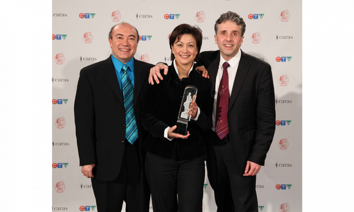 The Gryphon Trio at the 2011 Juno Awards where the group won for Classical Album of the Year: Solo or Chamber Ensemble. (L-R) James Parker, Annalee Patipatanakoon, and Roman Borys. (CARAS/iPhoto)