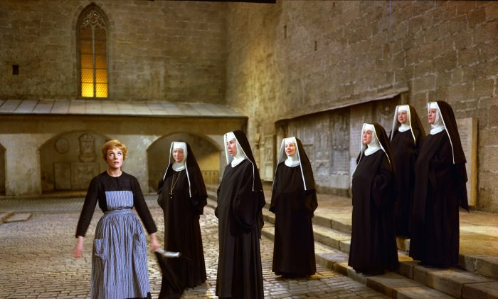 "Julie Andrews (L) as Maria, and a group of nuns, in a scene during the song ""Maria"" from the film, ""The Sound of Music."" The 1965 Oscar-winning film adaptation of the Rodgers & Hammerstein musical ""The Sound of Music"" is celebrating its 50th birthday. Tthe film will be screened at the TCM Classic Film Festival in Hollywood later this month and to over 500 movie theaters in April.  (AP Photo/Twentieth Century Fox Home Entertainment)"