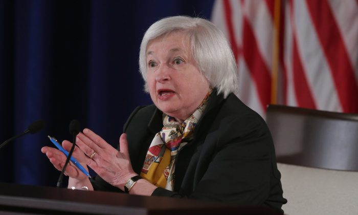 Fed chair Janet Yellen holds a news conference following a meeting of the Federal Open Market Committee on March 18, 2015 in Washington, D.C. (Chip Somodevilla/Getty Images)