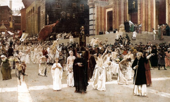"""The Flagellants,"" Completed in Munich between 1885 and 1889 by Carl von Marr (1858 – 1936). Oil on canvas, 14 inches by 23 inches."