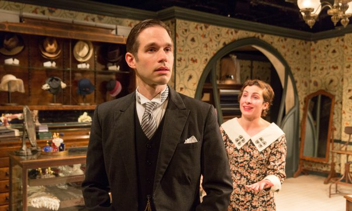 """Peter Juhasz (Joe Delafield), the nicest guy in the world, is having trouble with both his wife (Annie Purcell) and his finances, in """"Fashions for Men,"""" a Ferenc Molnár piece revived by the Mint Theater Company. (Richard Termine)"""