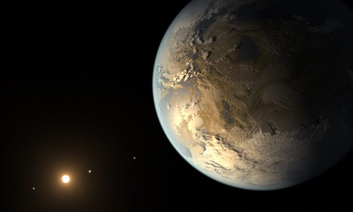 Artist's concept of a rocky Earth-sized planet in the habitable zone of its host star, possibly compatible with known data for Kepler-186f planet discovered in 2014 by the Kepler telescope. (NASA/SETI/JPL)