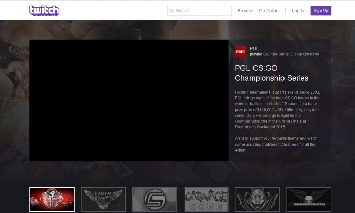 Twitch TV, the streaming website, was down for many users on Wednesday. (Twitch screenshot)