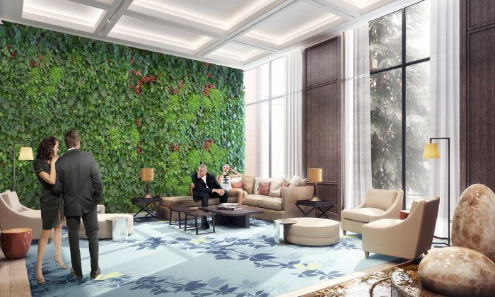 """The lobby at Harmony Village will have a """"living wall""""—a vertical garden of plants fixed to a wall. (City Core Developments)"""