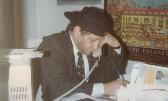 "Danny Schechter at work in his office in Mulberry Street, New York City, 1989, during the production of the ""South African Now"" TV series. (Lisa Brittan)"