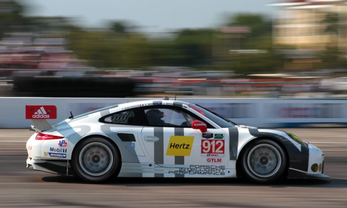Frédéric Makowiecki in the #912 Porsche North America RSR captured the GT Le Mans class pole for the Tudor Championship Twelve Hours of Sebring. (Chris Jasurek/Epoch Times)