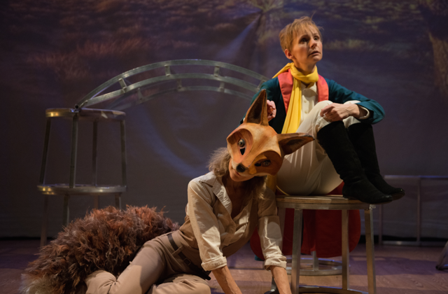 "The Little Prince (Tarah Flanagan) tames The Fox (Paola Styron) , in Hangs a Tale's production of ""The Little Prince."" (Courtesy of Hangs a Tale)"