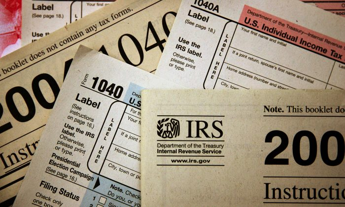 Current federal tax forms are distributed at the offices of the Internal Revenue Service November 1, 2005 in Chicago, Illinois. (Scott Olson/Getty Images)