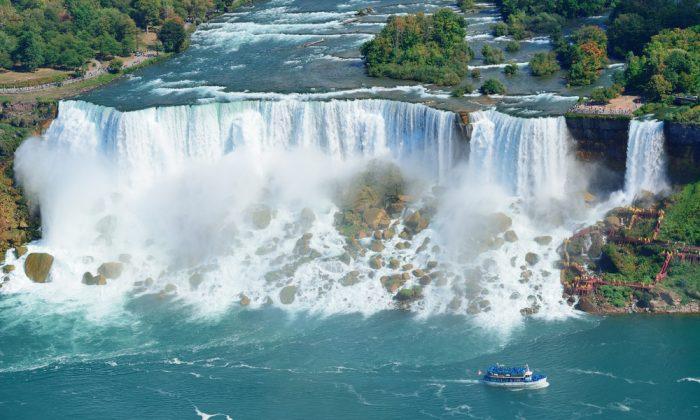 Niagara Falls closeup panorama via Shutterstock*