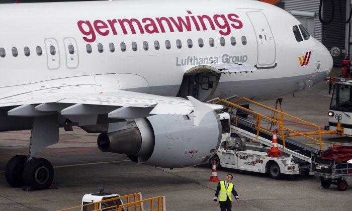 An Airbus 320 of Germanwings is parked at the airport as their pilots went on strike in Duesseldorf, Germany.  (AP/Frank Augstein)