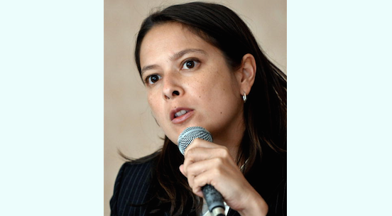 """Human Rights Watch (HRW) deputy Asia director Elaine Pearson speaks during a press briefing in Manila on April 7, 2009. She said recently, """"We want other countries in the region to be rights respecting countries for the prosperity and stability of the region.""""  (Jay Directo/AFP/Getty Images)"""