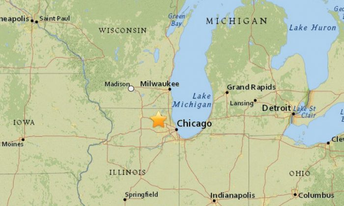 An earthquake struck Lake in the Hills, Illinois, on Wednesday evening. (USGS)