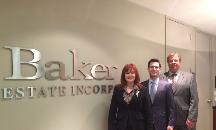 Barbara Lawlor, Harley Nakelsky, and Jeff Clark of Baker Real Estate Inc. Heading into the spring sales season, the firm is coming off its most successful year ever. (Baker Real Estate Inc.)