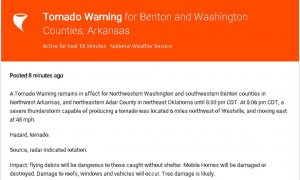 Fayetteville Tornado: Warning Issued in Arkansas' Washington, Benton, Adair Counties