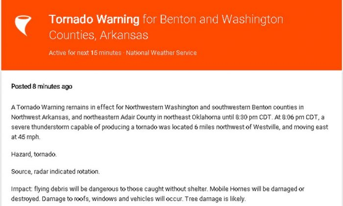 A tornado warning was issued for Fayetteville, Arkansas, on Wednesday night. (Google alerts)