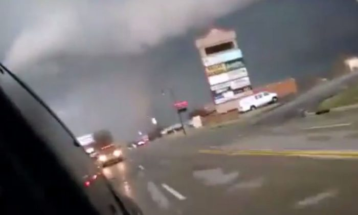 A tornado was spotted near Sand Springs and Tulsa, Oklahoma on Wednesday. (YouTube screenshot/ User: krazydblh)