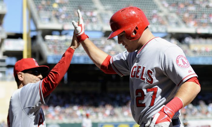 Mike Trout of the Los Angeles Angels of Anaheim has finished in the top two of the MVP voting in all three of his seasons. (Hannah Foslien/Getty Images)