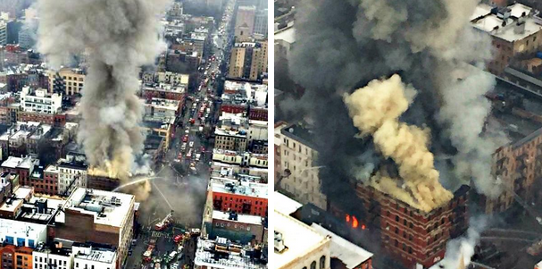 Aerial views of the building fire and collapse in New York City. (NYPD Special Ops)