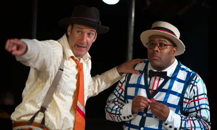 """Dan Sharkey as Hucklebee (L) and Kevin R. Free as Bellomy in """"The Fantasticks."""" The off-Broadway phenomenon """"The Fantasticks"""" will end its fantastic run May 3.  (AP Photo/DDPR Public Relations, Graham Dougherty, File)"""