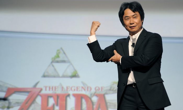 "Shigeru Miyamoto, the creator of the video game ""The Legend of Zelda,"" during a Nintendo news conference at the E3 Gaming Convention in Los Angeles, Calif., on June 7, 2011. (AP Photo/Chris Pizzello)"