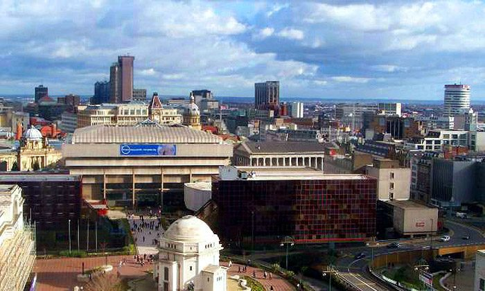 View across Birmingham from Centenary Square, on which the ICC is situated. Shen Yun will perform at the ICC on March 28 and 29