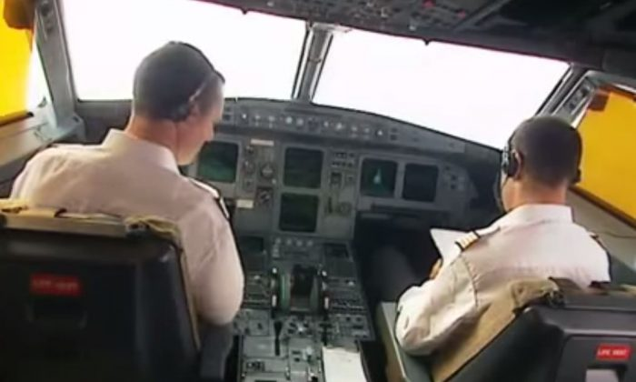 An Airbus video screeshot shows the inside of a cockpit. (YouTube)
