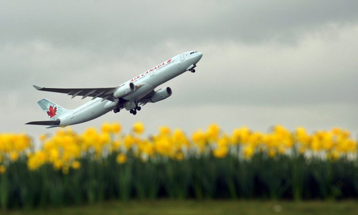 An Air Canada plane is pictured over a bed of daffodils as it takes off from London Heathrow Airport on March 25, 2010. AFP PHOTO / Adrian Dennis (Photo credit should read ADRIAN DENNIS/AFP/Getty Images)