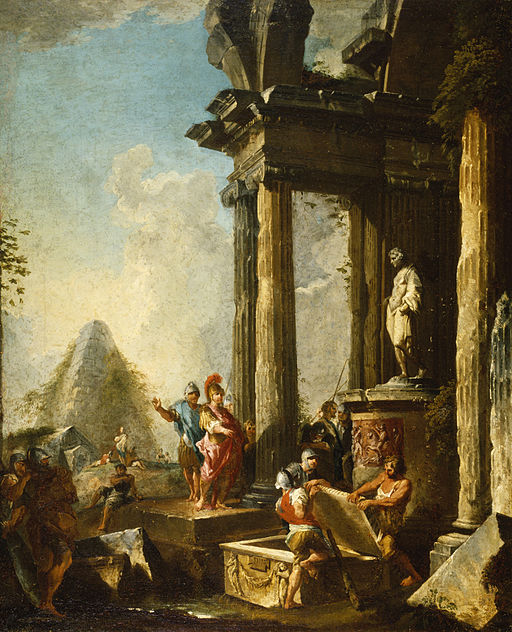 Alexander the Great visits the tomb of Achilles, but we cannot visit his tomb. This painting is by Giovanni Paolo Panini. (Public domain/ Wikimedia Commons)