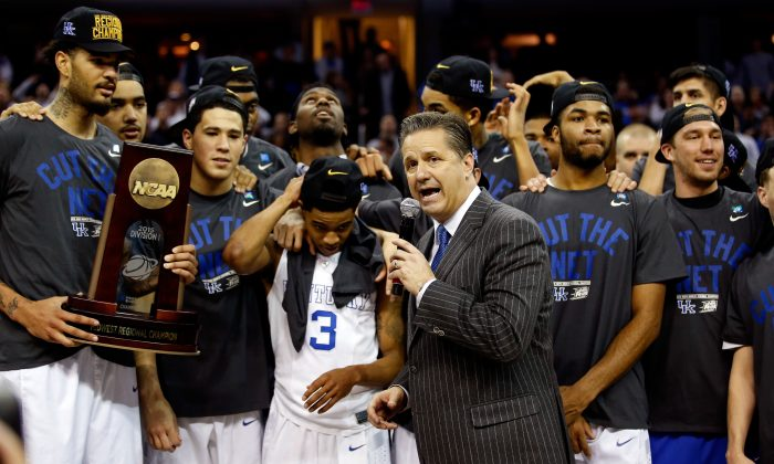 Head coach John Calipari of the Kentucky Wildcats is the only coach to amass 38 wins in a season and he's done it three times. (Gregory Shamus/Getty Images)