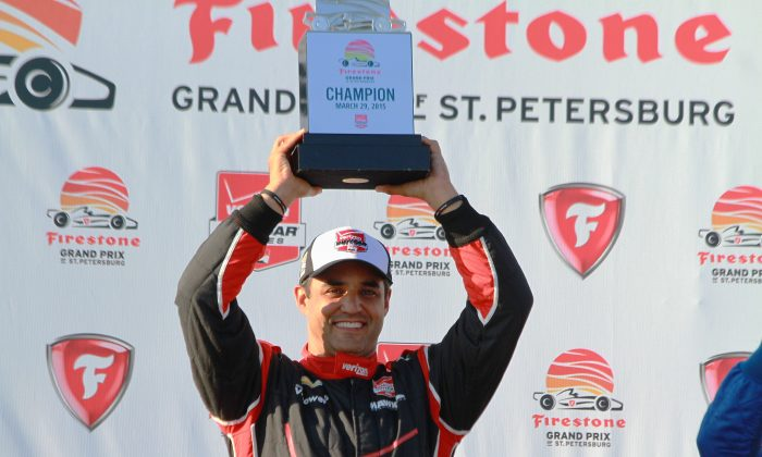 Juan Montoya celebrates winning the IndyCar Firestone Grand Prix of St. Petersburg, Sunday, March 29, 2015. (Chris Jasurek/Epoch Times)