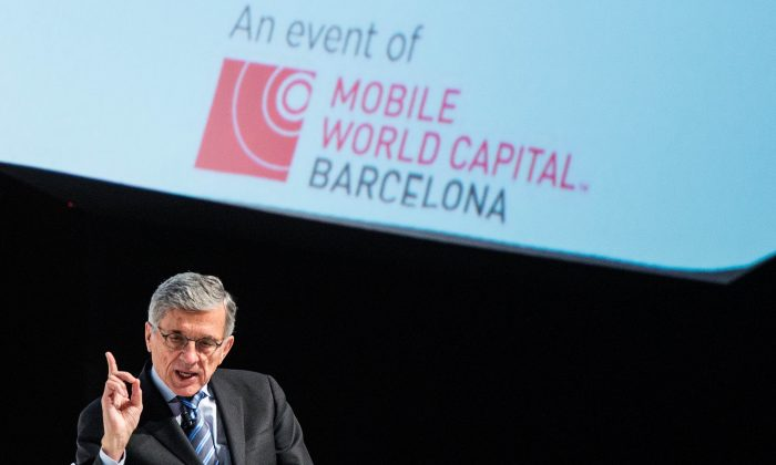 Chairman of the Federal Communications Commission (FCC) Tom Wheeler speaks during his keynote conference during the second day of the Mobile World Congress 2015 at the Fira Gran Via complex on March 3, 2015 in Barcelona, Spain. (David Ramos/Getty Images)