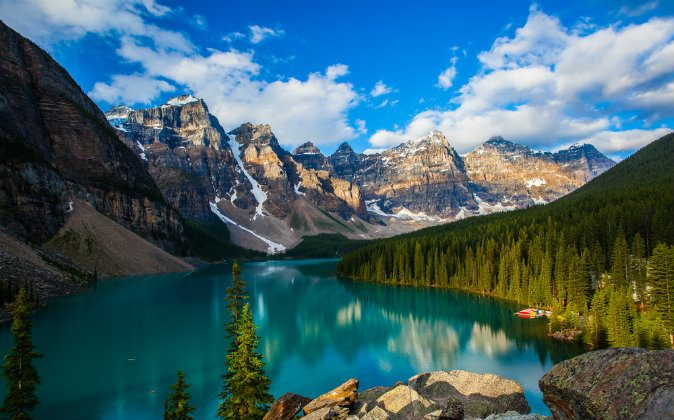 Moraine lake with in the valley of ten peaks, Banff national park via Shutterstock*