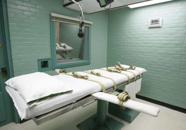 This May 27, 2008 file photo shows the State of Texas execution chamber in Huntsville, Texas. A leading association for pharmacists on Monday has approved a proposal declaring that participation in lethal injection executions by compounding pharmacies would be a violation of core pharmacy values. (AP Photo/Pat Sullivan, File)