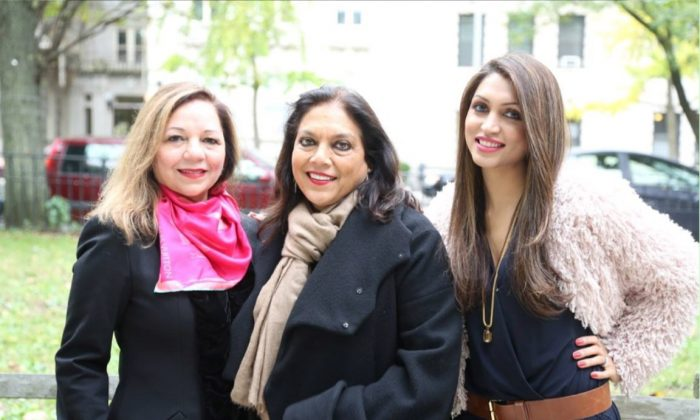 "(L-R) Rashmee Sharma, filmmaker Mira Nair, and Mani Kamboj. Mira Nair has directed ""Salaam Bombay!"" and ""The Reluctant Fundamentalist,"" among many others. (Roshni Media Group)"