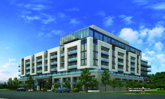 Rendering of the exterior of Vida Condos at Bayview Village, a mixed-use condominium project by Castle Group Developments at Bayview and Sheppard in North York's sophisticated Bayview Village area. (Castle Group Developments)