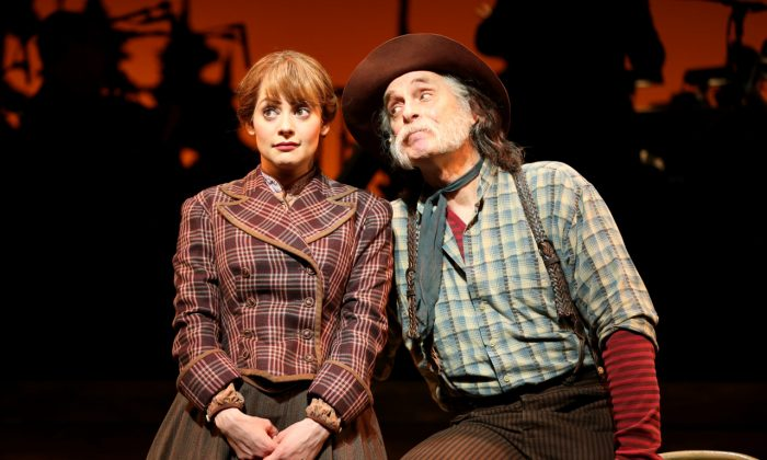 "Elizabeth (Jenni Barber) is a wife sold to rich miner Ben (Keith Carradine) in ""Paint Your Wagon,"" presented by Encores! at New York City Center. (Joan Marcus)"