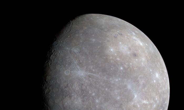 Carbon from passing comets has been building up on Mercury's surface for billions of years and may explain its dark surface, says Peter Schultz. (NASA/Johns Hopkins University Applied Physics Laboratory/Carnegie Institution of Washington via Wikimedia Commons)