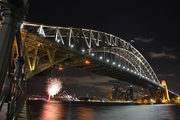 Sydney Harbour Bridge and Opera House on March 28, 2015. Mr Baird hopes to raise funds for a promised $20 billion infrastructure plan which includes a new rail line over the harbour bridge. (Peter Parks/AFP/Getty Images)
