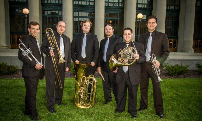 The Dallas Brass: (L–R) D.J. Barraclough, Michael Levine, Paul Carlson, Chris McWilliams, Juan Berrios, and Luis Migel Araya. (The Dallas Brass)