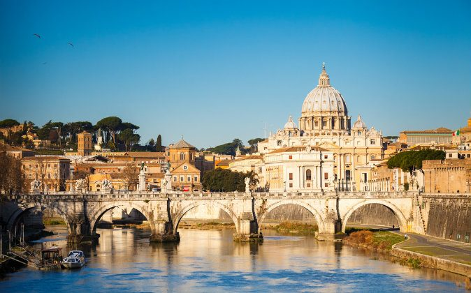 Tiber and St. Peter's cathedral in Rome, Italy via Shutterstock*