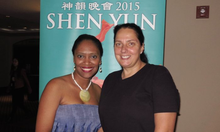"Diaky Diaz and Dr. Bettina Wolff, film producers and co-founders of the Artivist Film Festival, felt touched by Shen Yun's opening-night performance at the Mahaffey Theater on April 3. ""I wanted to see this for many years,"" Ms. Diaz said. (Sally Sun/Epoch Times )"