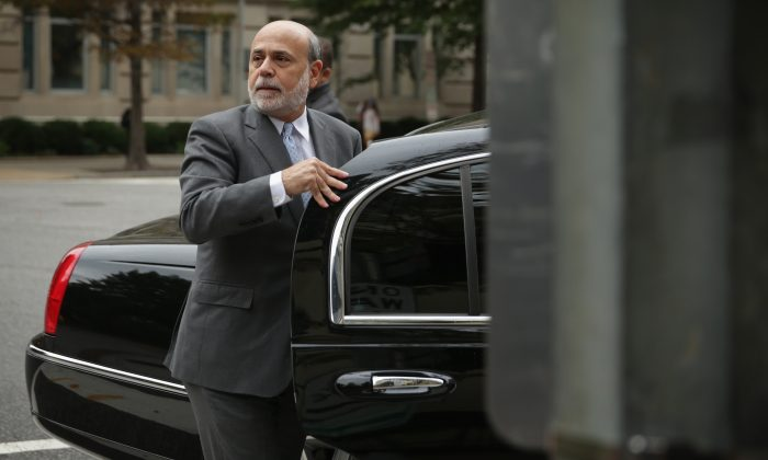 Former Chairman of the Federal Reserve Ben Bernanke arrives at U.S. Court of Federal Claims in Washington, D.C., to testify at the AIG trial, on October 10, 2014 in Washington, DC. (Alex Wong/Getty Images)