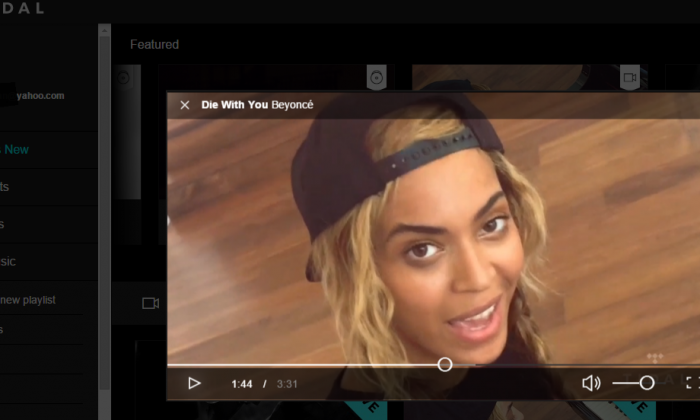 A screenshot of Beyonce's music video 'Die With You' exclusively on Tidal taken on April 5, 2015. (The Epoch Times)