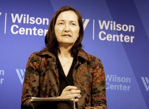 """Anne-Marie Brady, associate professor in political Science, University of Canterbury in New Zealand, spoke on Xi Jinping's ideology campaign, at the Wilson Center on April 2. Dr. Brady is the author of two books on Chinese propaganda—""""Marketing Dictatorship: Propaganda and Thought Work in Contemporary China"""" (2007), and """"China's Thought Management"""" (2014). (Gary Feuerberg/ Epoch Times)"""