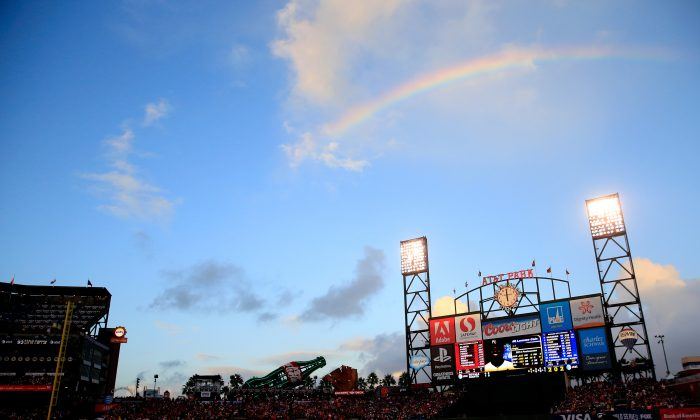 A rainbow appeared in October 2014 as well, as seen here, in San Francisco. (Jamie Squire/Getty Images)